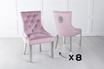 Set of 8 Pink Velvet Cross Stitched Lion Head Ring Back Dining Chair with Chrome Legs