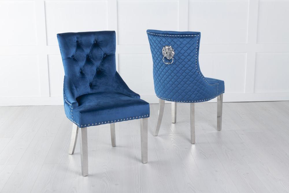 Blue Velvet Lion Knocker Dining Chair / Chrome Legs - Scoop Back