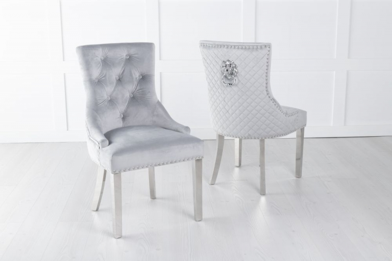 Light Grey Velvet Cross Stitched Lion Head Ring Back Dining Chair with Chrome Legs