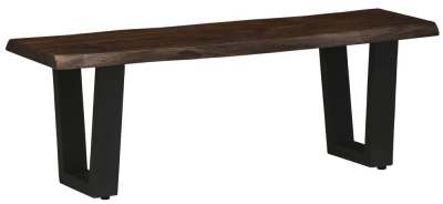 Urban Deco Live Edge Solid Acacia Wood 120cm Bench - Dark
