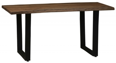Urban Deco Live Edge Solid Acacia Wood 160cm Dining Table - Dark