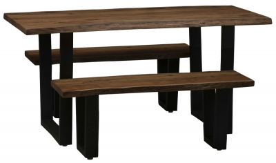 Urban Deco Live Edge Solid Acacia Wood 160cm Dining Table and 2 Bench - Dark