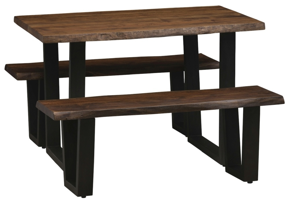 Urban Deco Live Edge Solid Acacia Wood 120cm Dining Table and 2 Bench - Dark