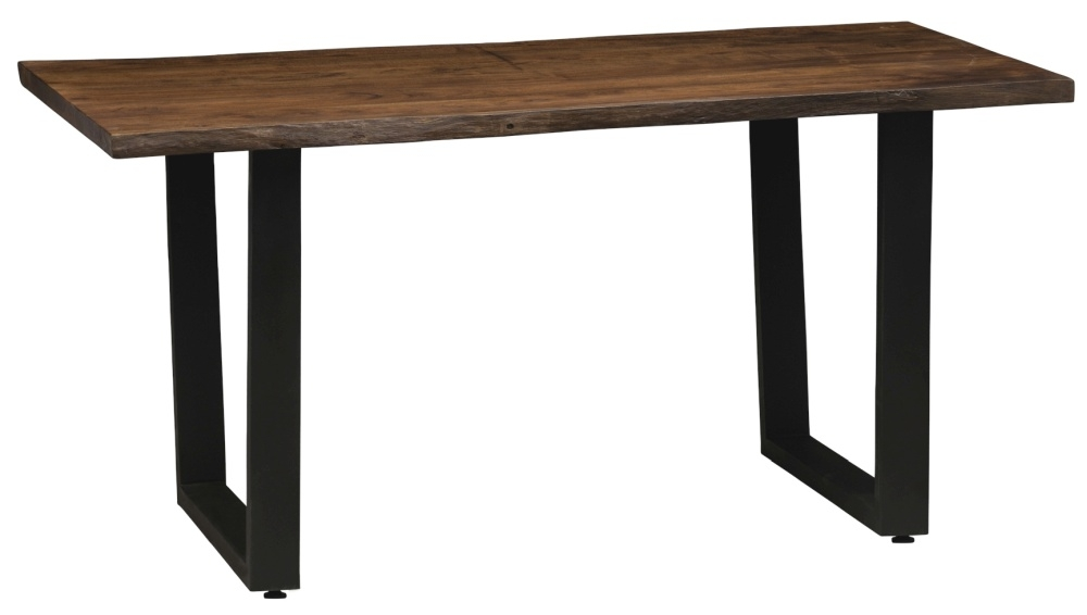 Urban Deco Live Edge Solid Acacia Wood 180cm Dining Table - Dark