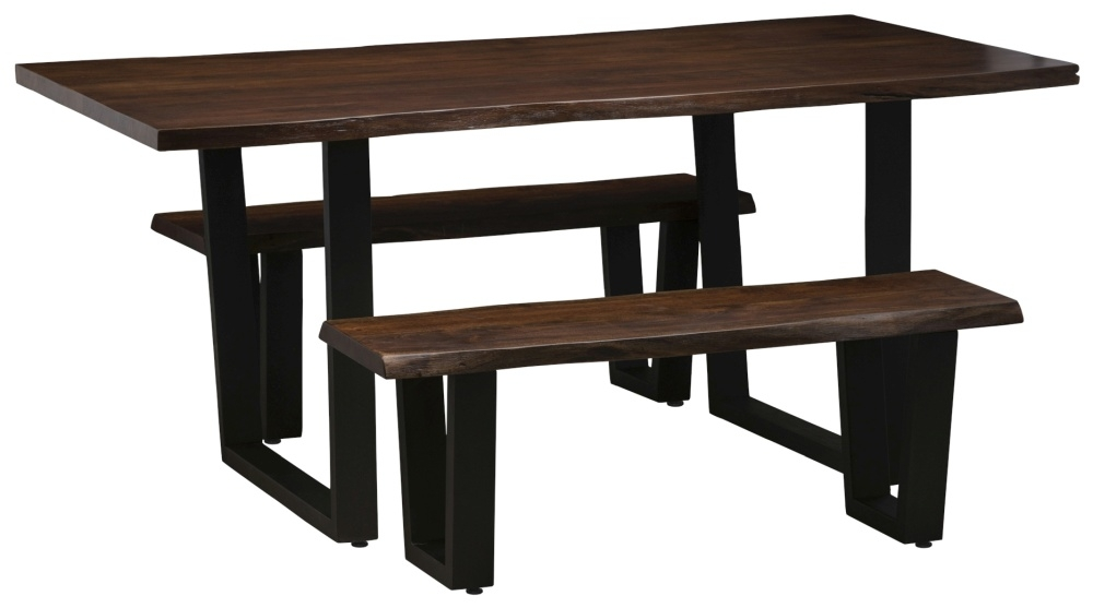 Urban Deco Live Edge Solid Acacia Wood 220cm Dining Table and 2 Bench - Dark