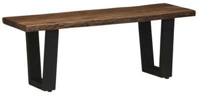Urban Deco Live Edge Solid Acacia Wood 120cm Bench - Light
