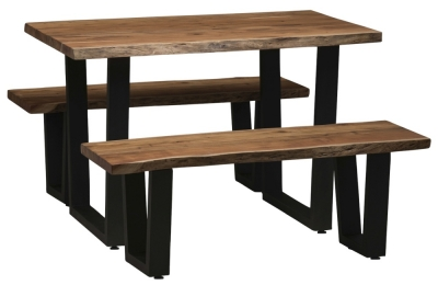 Urban Deco Live Edge Solid Acacia Wood 120cm Dining Table and 2 Bench - Light