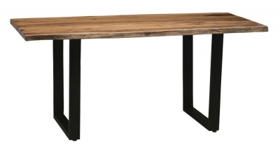 Urban Deco Live Edge Solid Acacia Wood 180cm Dining Table - Light