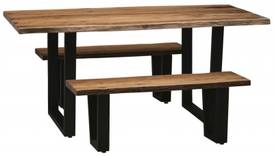 Urban Deco Live Edge Solid Acacia Wood 180cm Dining Table and 2 Bench - Light