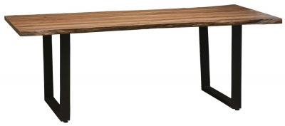 Urban Deco Live Edge Solid Acacia Wood 220cm Dining Table - Light
