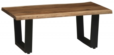 Urban Deco Live Edge Solid Acacia Wood Coffee Table - Light