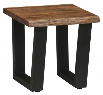 Urban Deco Live Edge Solid Acacia Wood Side Table - Light