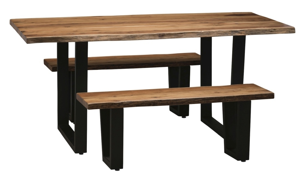 Urban Deco Live Edge Solid Acacia Wood 160cm Dining Table and 2 Bench - Light
