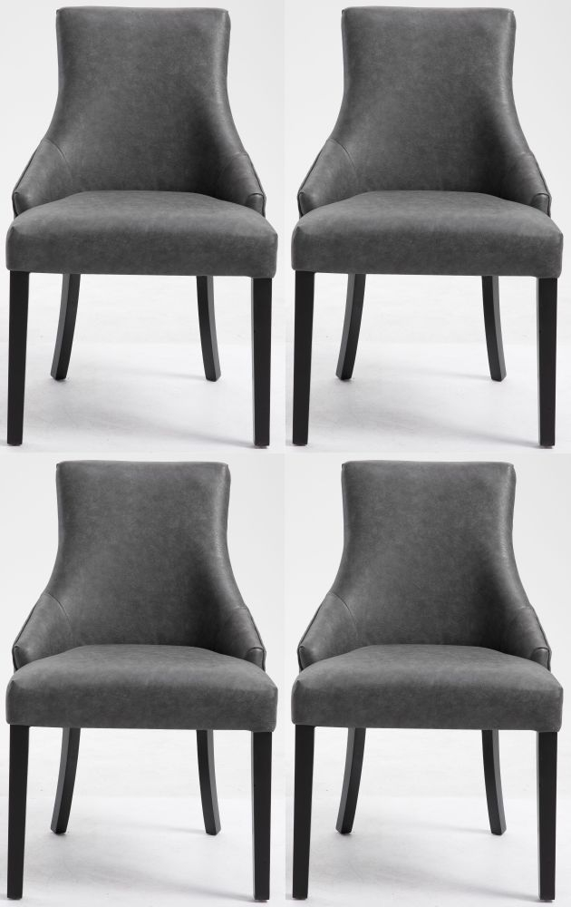 4 x Loire Grey Fabric Knockerback Dining Chair