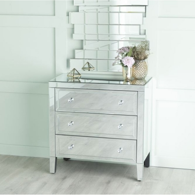 Urban Deco Lucia Mirrored 3 Drawer Chest