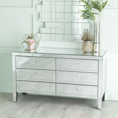 Urban Deco Lucia Mirrored 6 Drawer Wide Chest