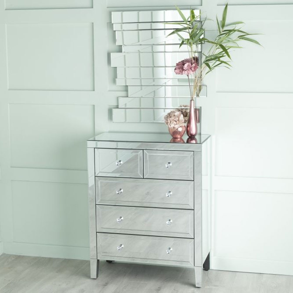 Urban Deco Lucia Mirrored 2+3 Drawer Chest