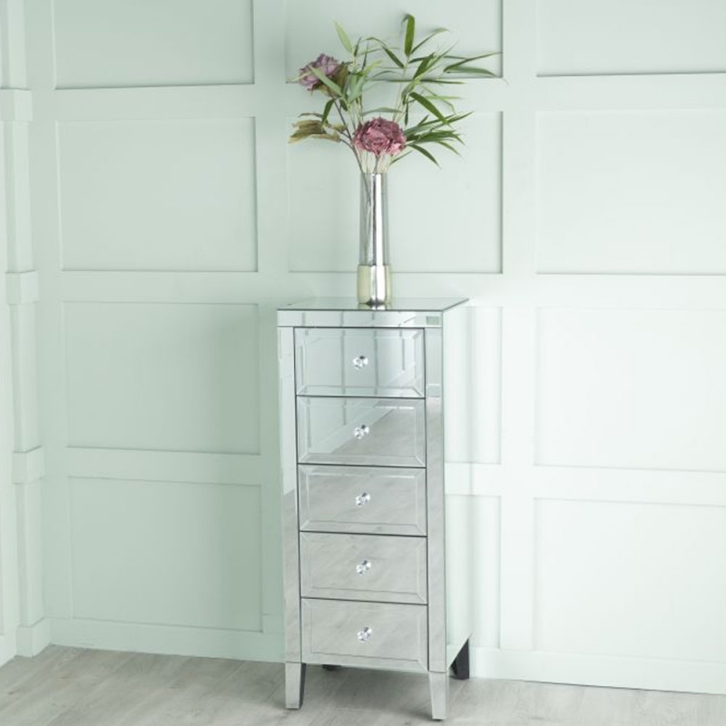 Lucia Mirrored 5 Drawer Narrow Chest - Tallboy