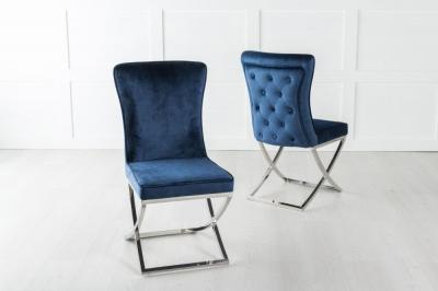 Lyon Buttoned Back Dining Chair / Cross Chrome Legs - Tufted Blue Velvet