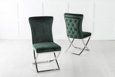 Lyon Green Velvet Back Tufted Dining Chair