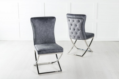 Lyon Grey Velvet Back Tufted Dining Chair
