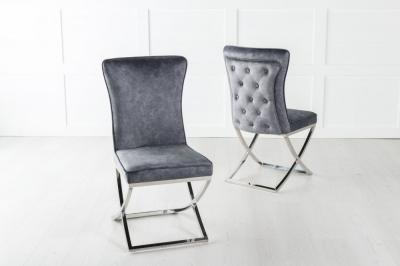 Lyon Buttoned Back Dining Chair / Cross Chrome Legs - Tufted Grey Velvet