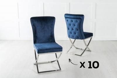 Set of 10 Lyon Blue Velvet Back Tufted Dining Chair