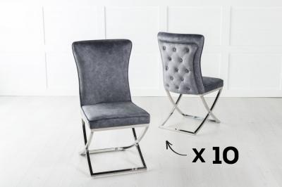 Set of 10 Lyon Grey Velvet Back Tufted Dining Chair