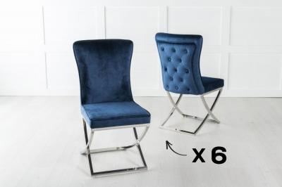 Set of 6 Lyon Buttoned Back Dining Chair / Cross Chrome Legs - Tufted Blue Velvet