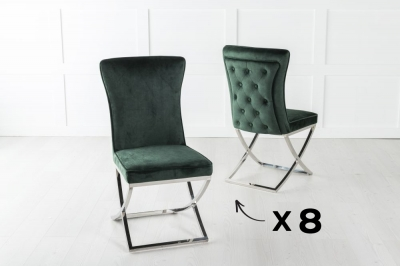 Set of 8 Lyon Green Velvet Back Tufted Dining Chair