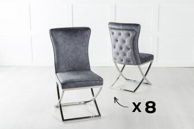 Set of 8 Lyon Grey Velvet Back Tufted Dining Chair