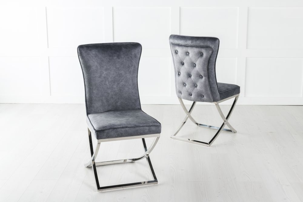 Lyon Grey Velvet Back Tufted Dining Chair