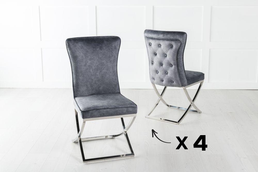 Set of 4 Lyon Buttoned Back Dining Chair / Cross Chrome Legs - Tufted Grey Velvet