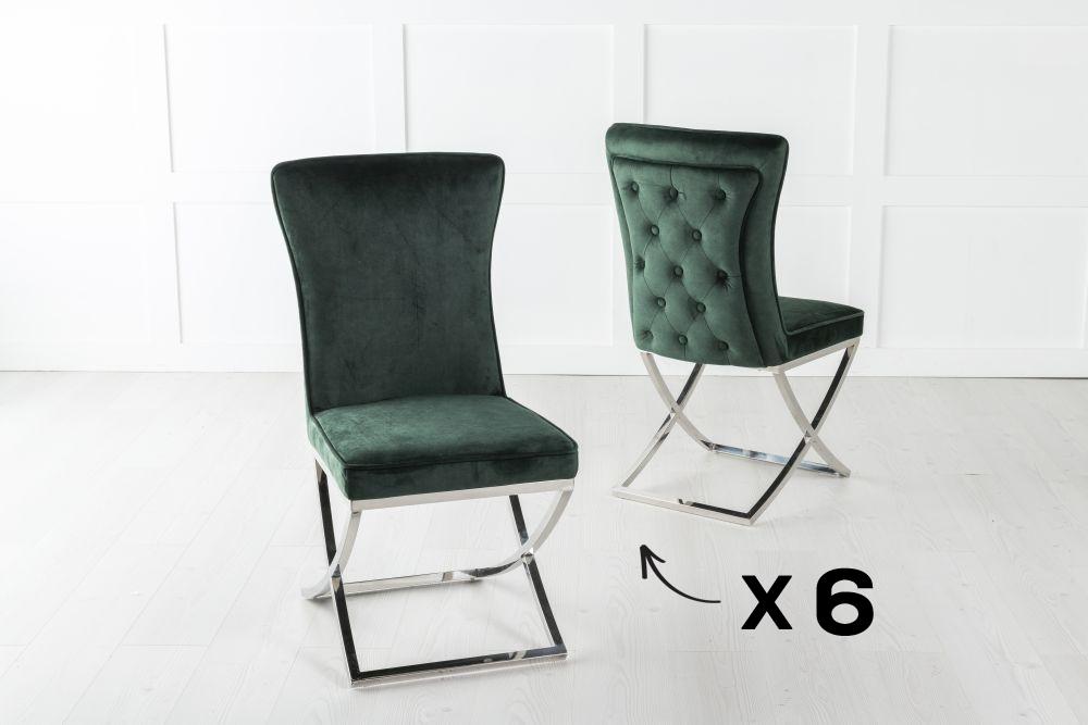 Set of 6 Lyon Buttoned Back Dining Chair / Cross Chrome Legs - Tufted Green Velvet
