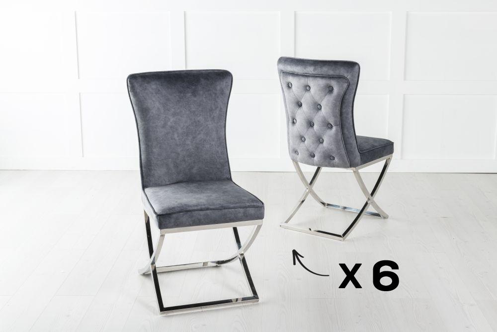 Set of 6 Lyon Buttoned Back Dining Chair / Cross Chrome Legs - Tufted Grey Velvet