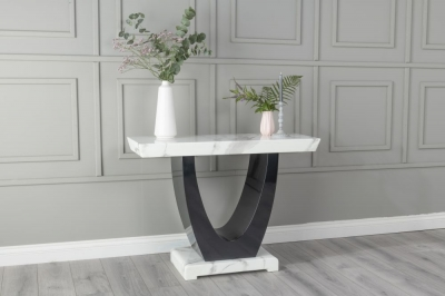 Urban Deco Madrid White Marble Console Table