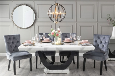 Urban Deco Madrid 160cm White Marble Dining Table with 6 Grey Knockerback Chairs