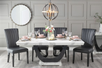 Urban Deco Madrid 180cm White Marble Dining Table with 6 Cadiz Black Chairs