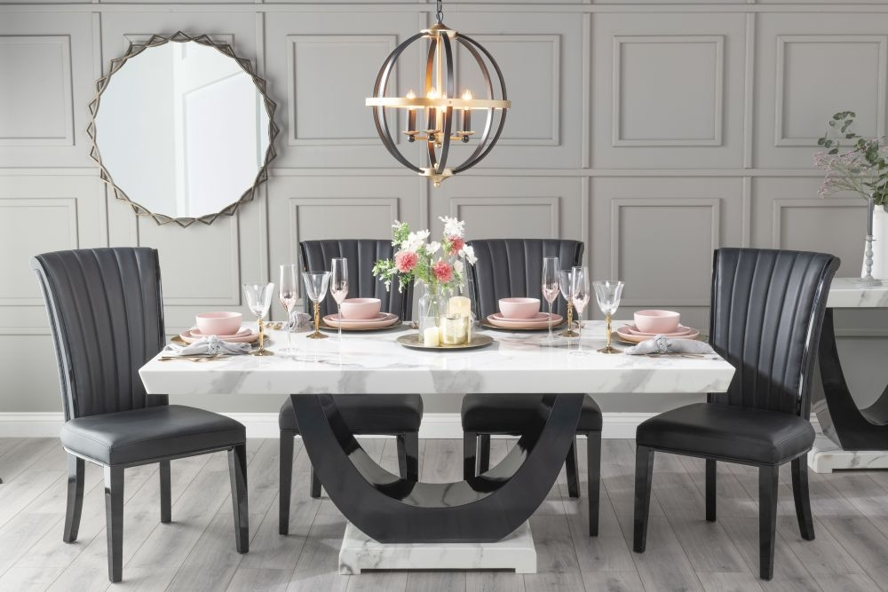 Urban Deco Madrid 160cm White Marble Dining Table with 6 Cadiz Black Chairs