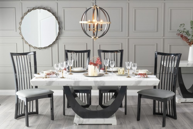 Urban Deco Madrid 200cm White Marble Dining Table with 6 Athena Black Chairs