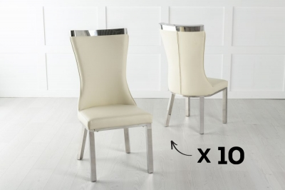 Maison Set of 10 Dining Chair with Chrome Legs - Cream Leather