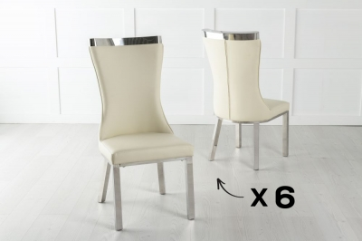 Set of 6 Maison Cream Faux Leather Dining Chair with Chrome Legs