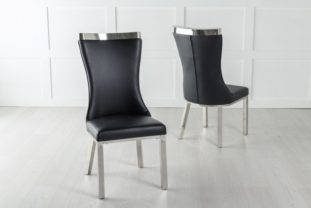 Maison Black Faux Leather Dining Chair with Chrome Legs