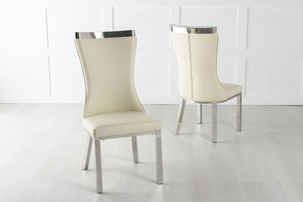 Maison Cream Faux Leather Dining Chair with Chrome Legs