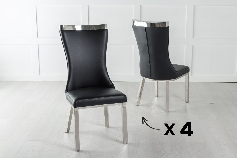 Set of 4 Maison Black Faux Leather Dining Chair with Chrome Legs