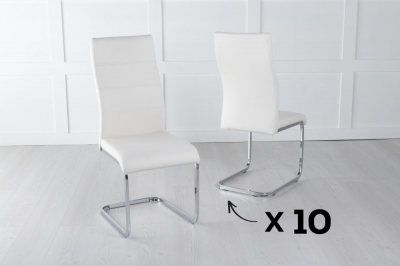 Set of 10 Malibu Cream Faux Leather Dining Chair
