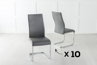 Set of 10 Malibu Dark Grey Faux Leather Dining Chair