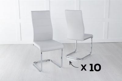 Set of 10 Malibu Light Grey Faux Leather Dining Chair