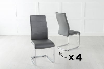 Set of 4 Malibu Metal Dark Grey Dining Chair