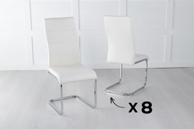 Malibu Set of 8 Cream Leather Dining Chair with Brushed Stainless Steel Cantiliver Base